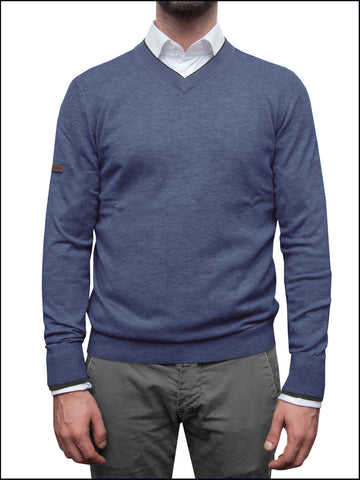 Men's Blue/Grey V Neck Jumper