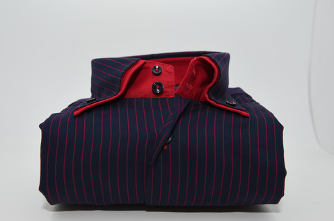 Men's Navy Blue with Red Pinstripe Double Collar Shirt