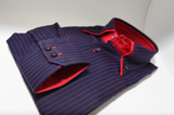 Men's navy blue shirt with red pinstripe and red double collar cuff