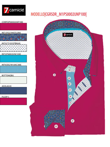 Men's Pink Shirt with Single Collar and Aqua Blue Trim