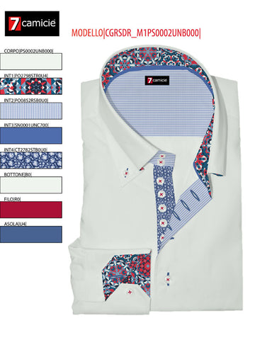 Men's White Single Collar shirt with Red and Blue trim