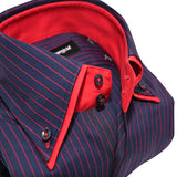 Men's navy blue and red stripe shirt with double collar upclose