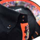 Men's black shirt single collar orange contrast upclose