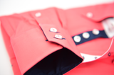 Men's Coral Shirt with Navy Contrast