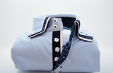 Men's light blue shirt triple collar front