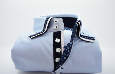 Men's Light Blue Shirt with Triple Collar