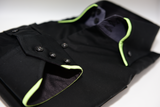 Men's black shirt lime green double collar cuff
