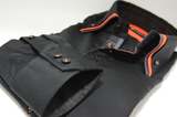 Men's black shirt orange and grey triple collar cuff