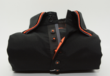 Men's black shirt orange and grey triple collar front