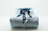 Men's light blue shirt with navy patterned double collar front