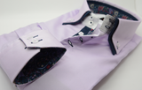 Men's lilac shirt shirt with navy double collar cuff