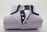 Men's lilac shirt with navy double collar front