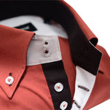Men's copper brown single collar shirt upclose