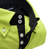 Men's acid green single collar shirt upclose