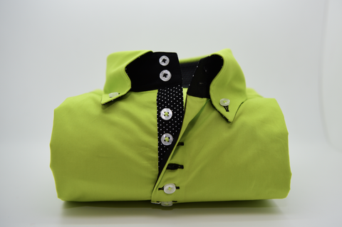 Men's Acid Green Single Collar Shirt with Black Trim