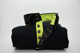 Men's black shirt acid green trim single collar front