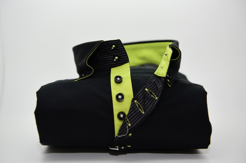 Men's Black Single Collar Shirt with Acid Green Trim