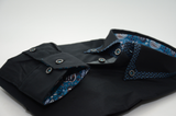 Men's black slim fit shirt with blue patterned trim cuff