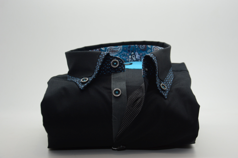 Men's Black Shirt with Blue Patterned Trim and Collar