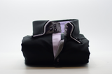 Men's black shirt double collar and lilac trim front
