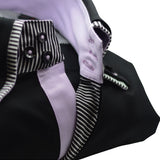 Men's black shirt double collar and lilac trim upclose