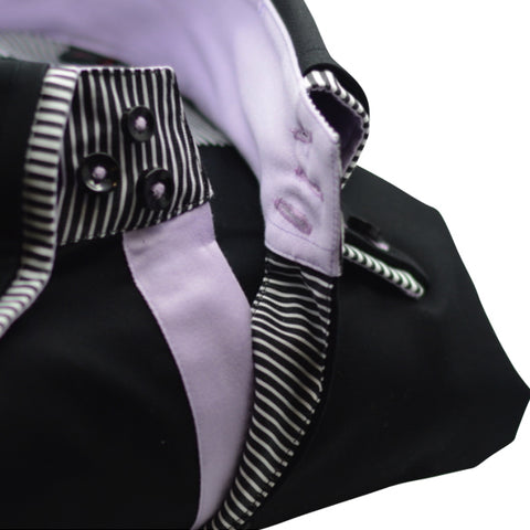Men's Black Shirt with Double Collar and Lilac Trim