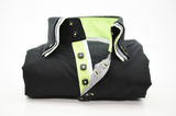 Men's black shirt with triple collar and lime green trim front