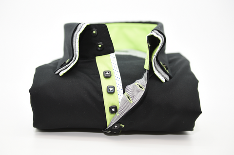 Men's Black Shirt with Triple Collar and Green Trim