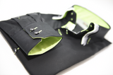 Men's black shirt with triple collar and lime green trim cuff