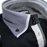 Men's black shirt with dark grey collar upclose