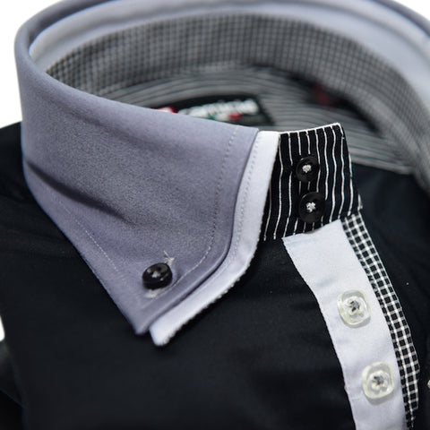 Men's Black Shirt with Grey Collar and Cuffs