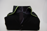 Men's black shirt lime green double collar front