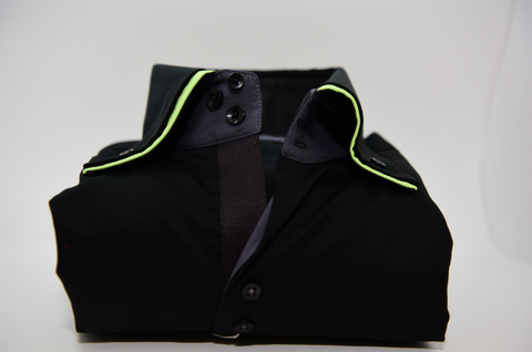 Men's Black Shirt with Lime Green Double Collar