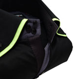 Men's black shirt lime green double collar upclose