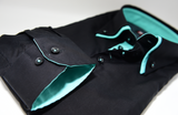Men's black shirt with mint green double collar cuff