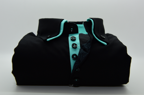 Men's Black Shirt with Small Mint Green Double Collar