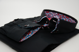 Men's black shirt multicolour double collar cuff