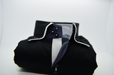 Men's black shirt with white double collar front