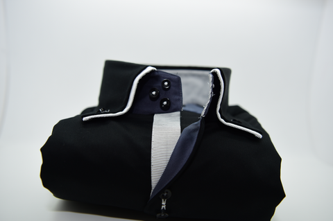 Men's Black Shirt with White Double Collar
