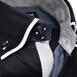 Men's black shirt with white double collar upclose