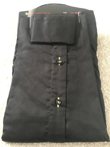 Men's Black Shirt with Yellow Double Collar