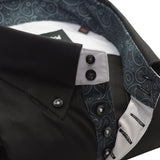 Men's black single collar shirt paisley trim upclose