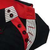 Men's Black Single Collar Shirt with Red Trim