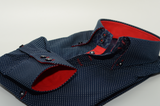 Men's dark navy slim fit spotty shirt red trim cuff
