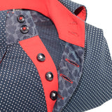 Men's dark navy spotty shirt single collar red trim upclose