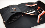 Men's Black Stretch Shirt with Orange and White Triple Collar