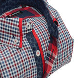 Men's blue and red check shirt red double collar upclose