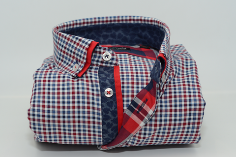 Men's Blue and Red Check Shirt with Red Double Collar