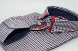 Men's blue and red check shirt red double collar cuff