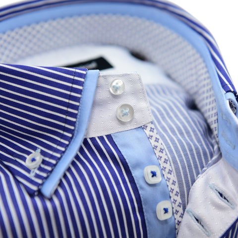 Men's Blue and White Stripe Shirt with Light Blue Double Collar
